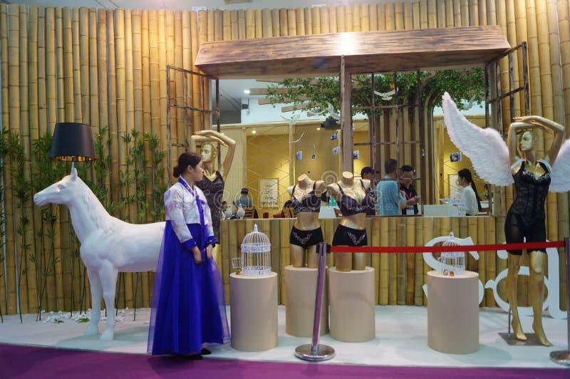 Female fashion models show. At the Shenzhen Convention Center, 2015 China (Shenzhen) international brand underwear exhibition royalty free stock photography