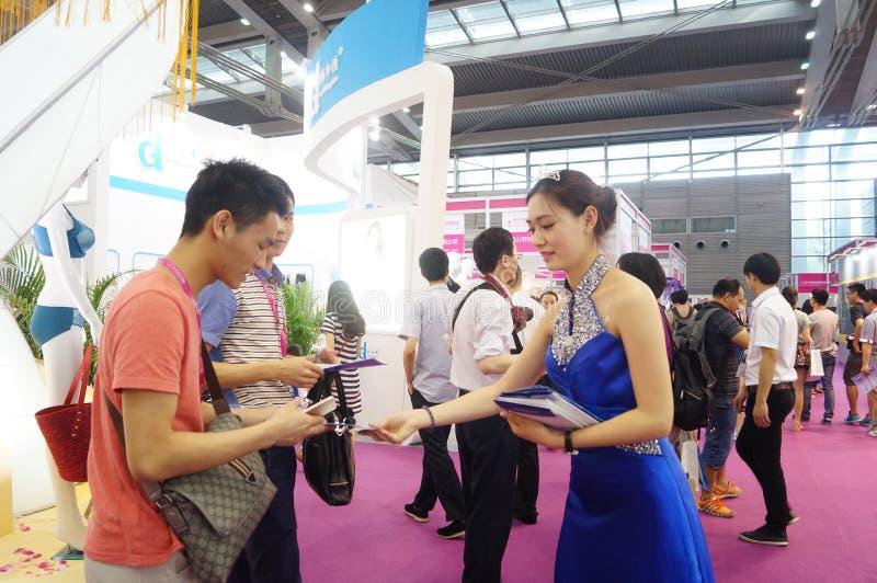 Female fashion models show. At the Shenzhen Convention Center, 2015 China (Shenzhen) international brand underwear exhibition stock photos