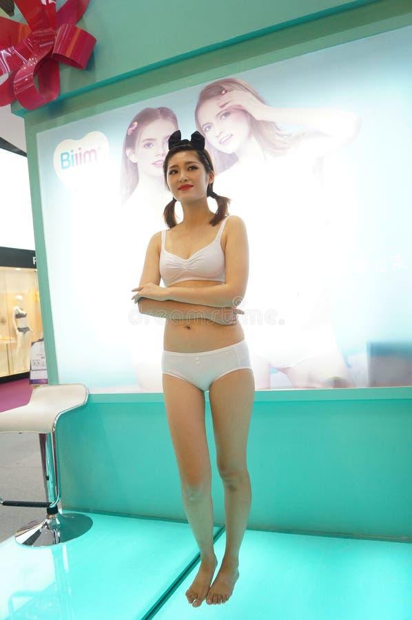 Female fashion models show. At the Shenzhen Convention Center, 2015 China (Shenzhen) international brand underwear exhibition stock images