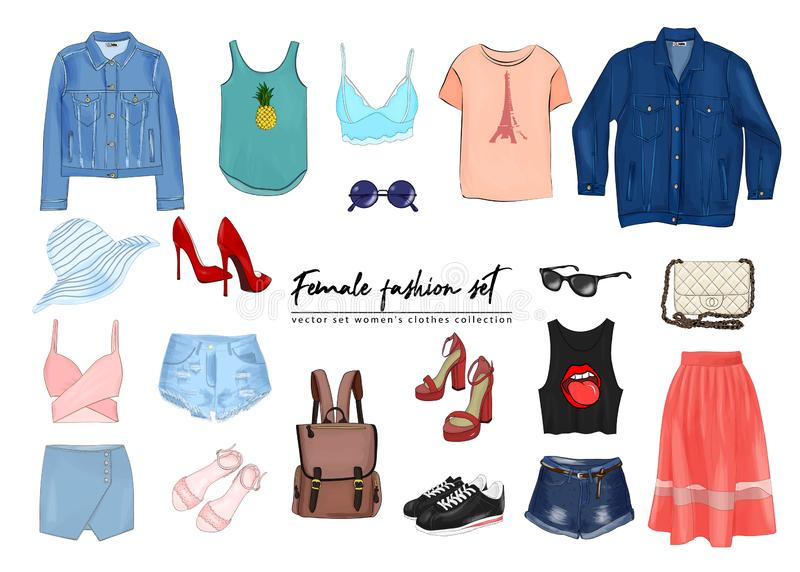 Female fashion set. Hand drawnи vector set women`s clothes collection. Spring, summer outfit. Hand drawnи vector set women`s clothes collection. Spring vector illustration