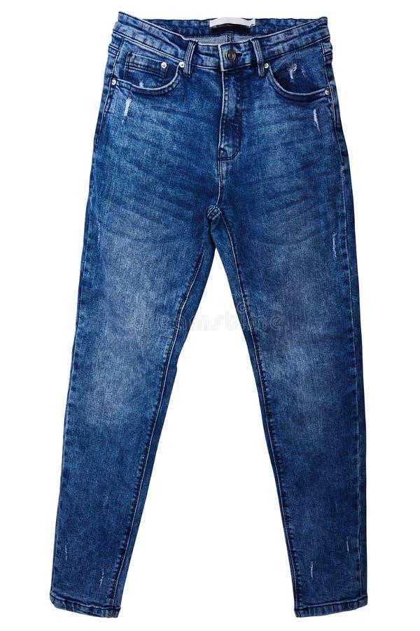 Female fashionable blue jeans isolated on white background. stock photography