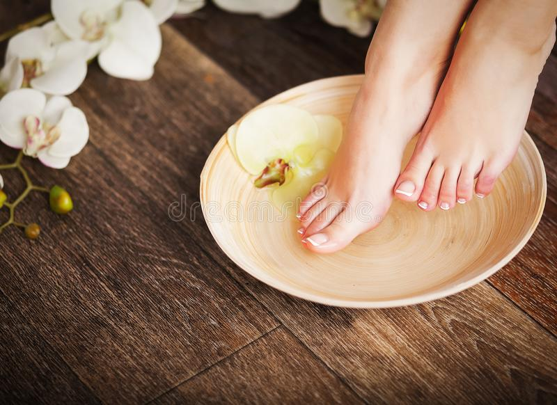 Female feet with drops of water, spa bowls, towels, flowers and royalty free stock photos