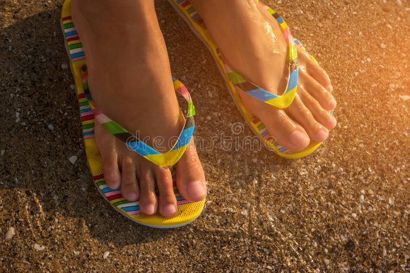 Female feet in flip flops. stock photography