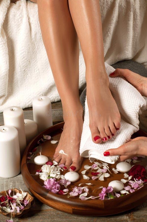 Female feet in spa salon, closeup stock photo