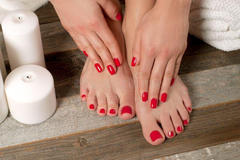Female feet in spa salon, pedicure procedure stock photography