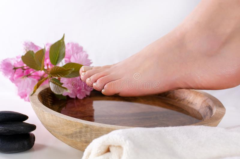 Female feet on wooden bowl with water and pink flower in spa studio. Girl feet with french nails polish. Beautiful young gently woman feet on wooden bowl with royalty free stock photo