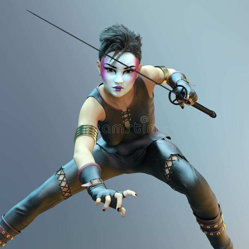 Female fencer. 3D CG rendering of a female fencer royalty free stock photo