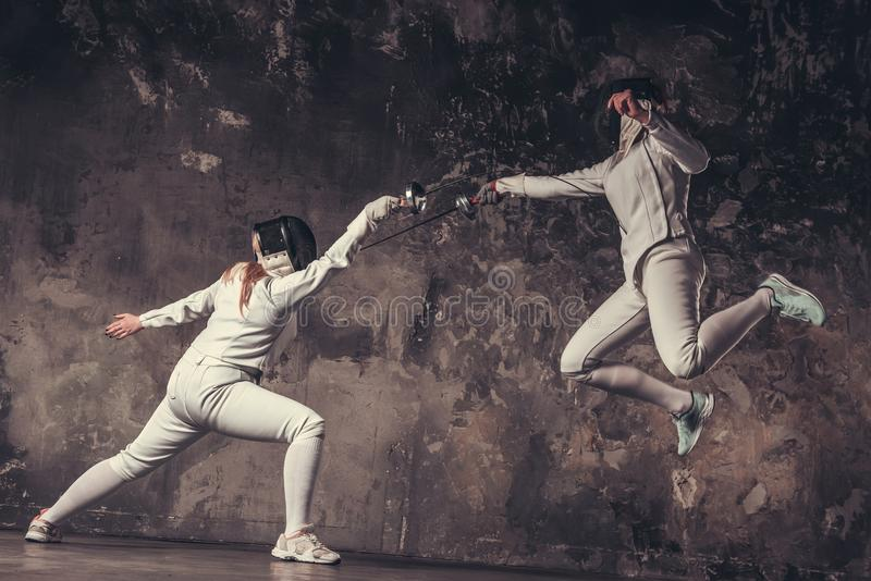 Download Two women fencing stock image. Image of active, fencer - 107220923