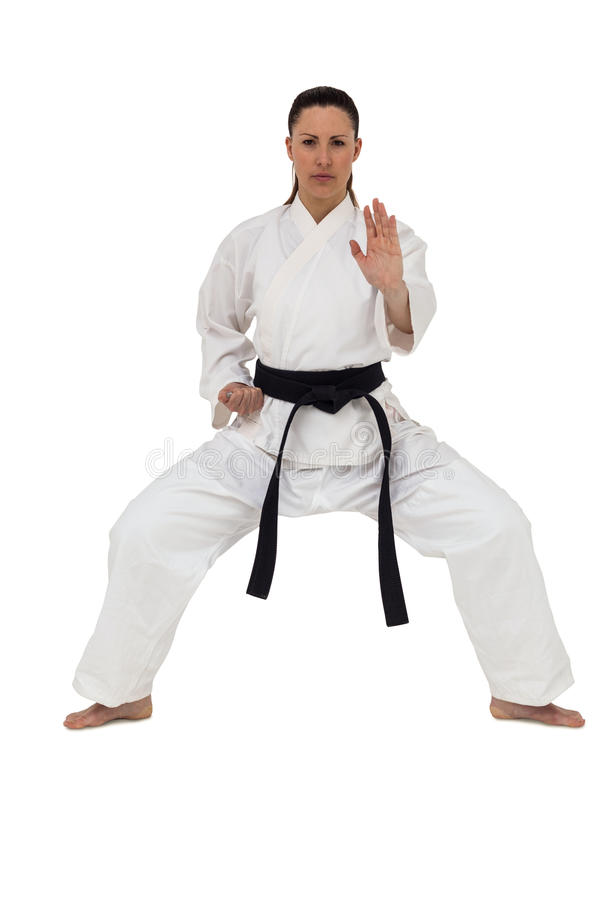 Female fighter performing karate stance. On white background stock photo