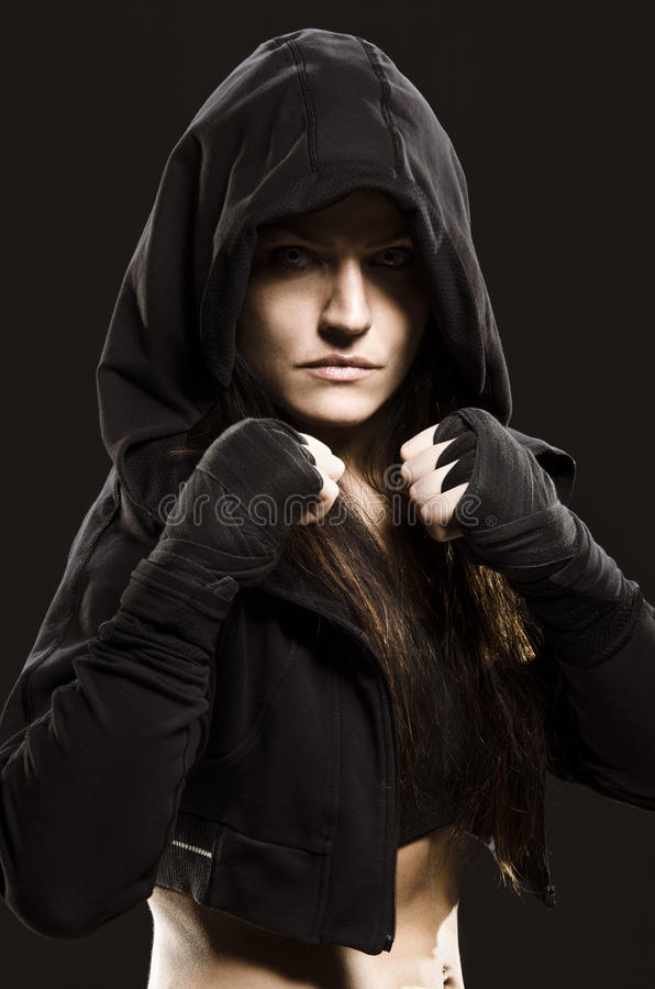 Female Fighter. Ready to Rumble! royalty free stock photography