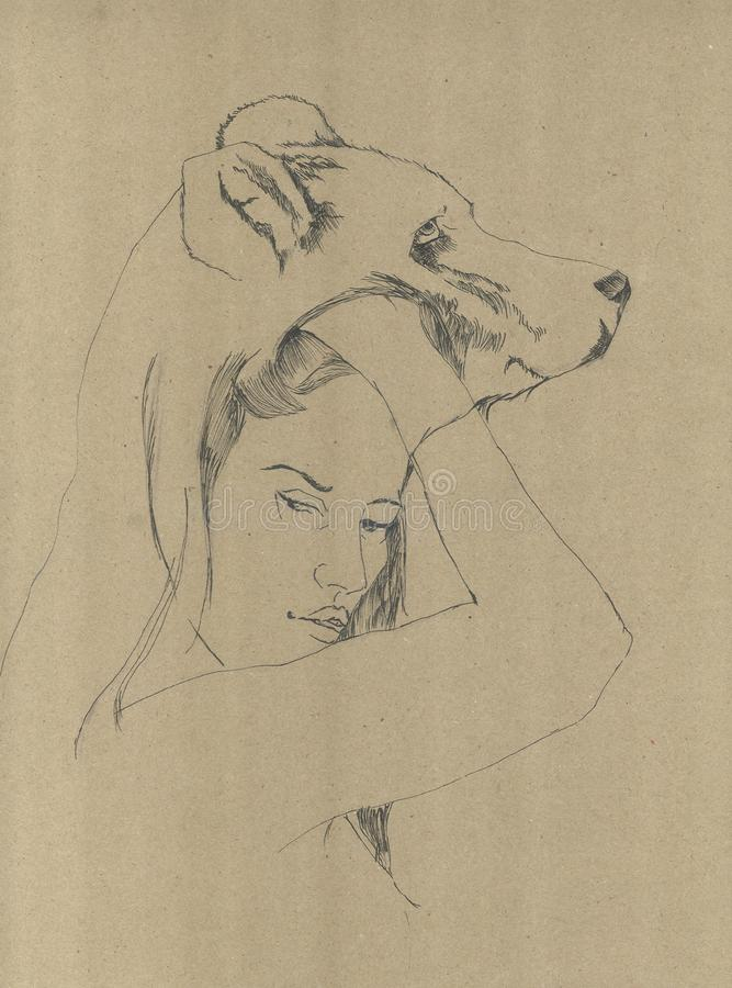 A female figure connected to the soul of a bear, which represents the strength of that person stock photography