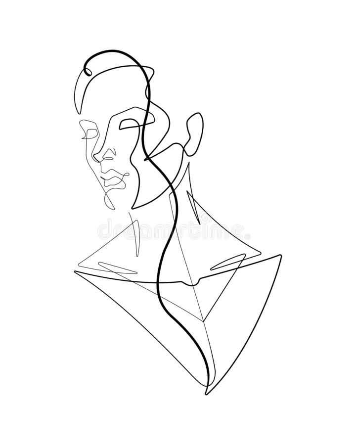 Free Female Figure Continuous Line Vector Graphic VI Royalty Free Stock Photos - 133729818