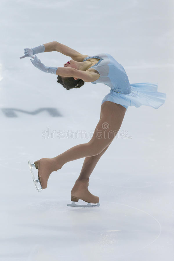 Female Figure Skater performs Ladies Free Skating Program at Ice Star International Figure Skating competition. Minsk, Belarus -November 19, 2016: Unidentified stock image