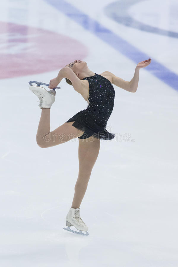 Female Figure Skater performs Ladies Free Skating Program at Ice Star International Figure Skating competition. Minsk, Belarus -November 19, 2016: Unidentified stock photo