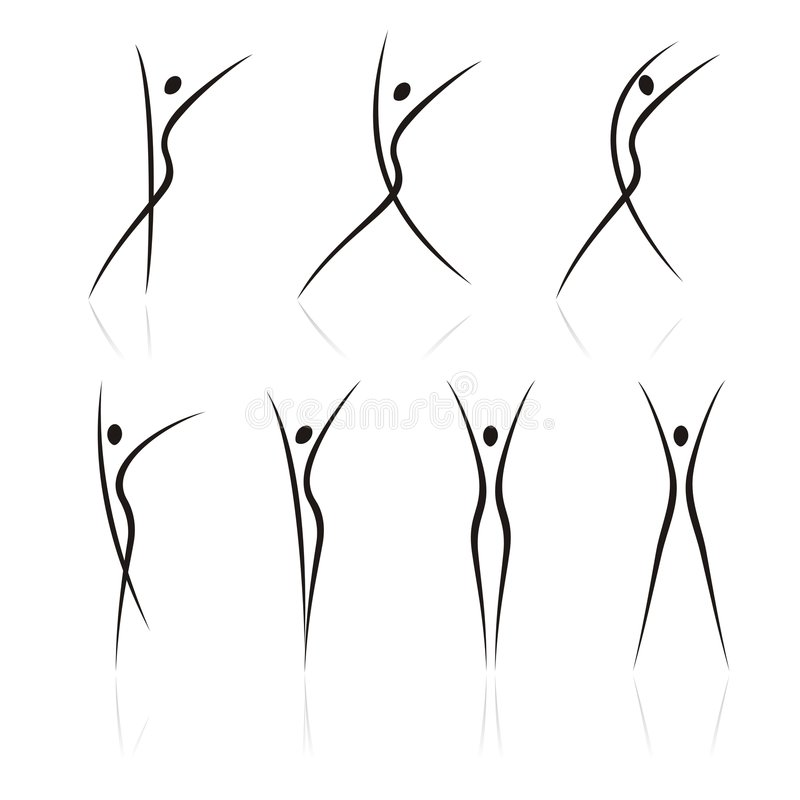 Female figures in movement. Abstract female figures in movement royalty free illustration
