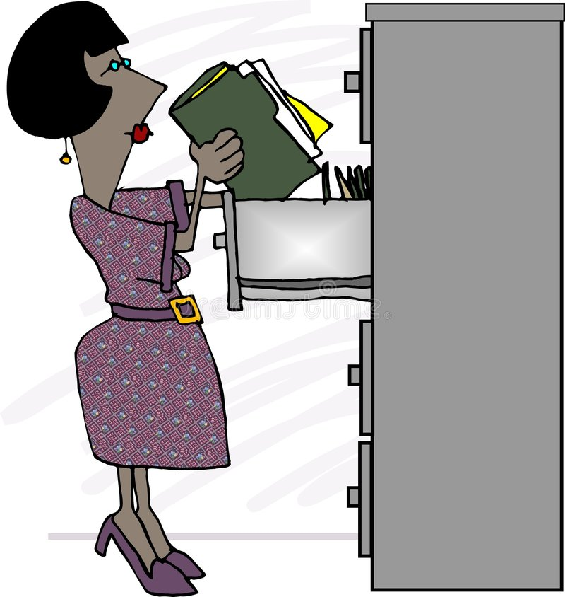 Female File Clerk royalty free illustration