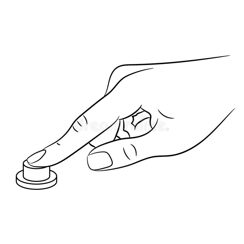 Female fingerpress button monochrome illustration vector illustration