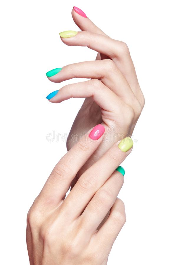 Female Fingers With Fancy Nails Manicure On White Back Stock Image ...