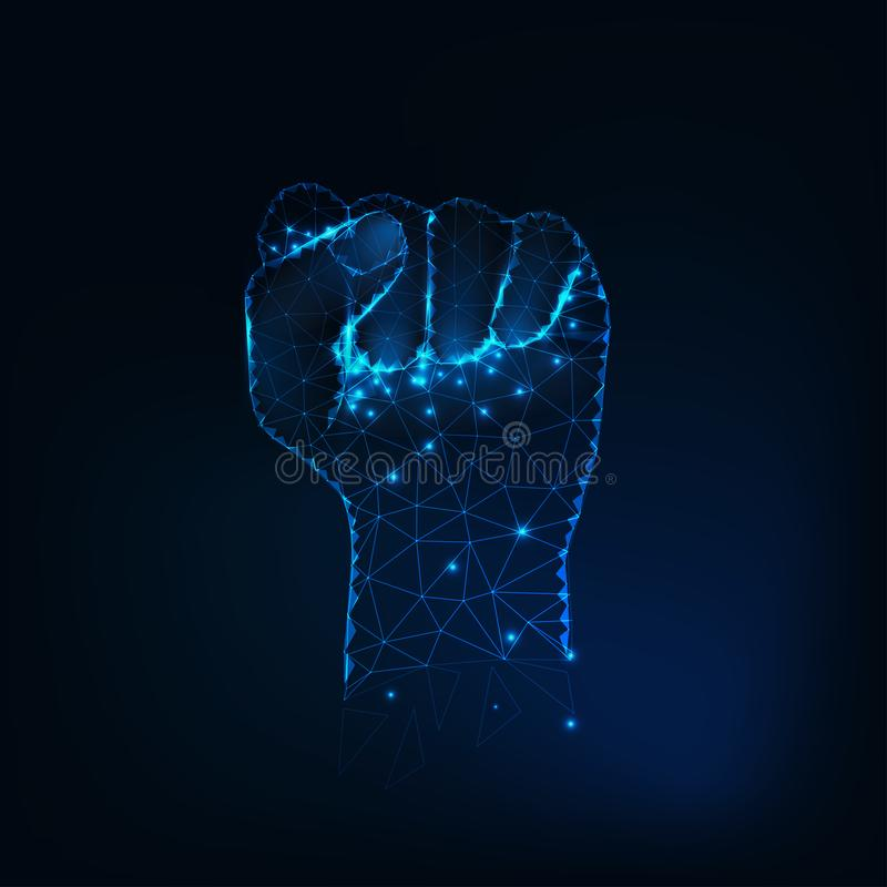 Female fist silhouette, raised hand made of glowing stars, lines, dots, points, triangles, low polygonal shapes. vector illustration