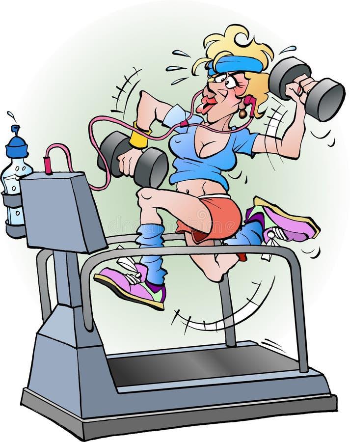 Female fitness cartoon stock photo