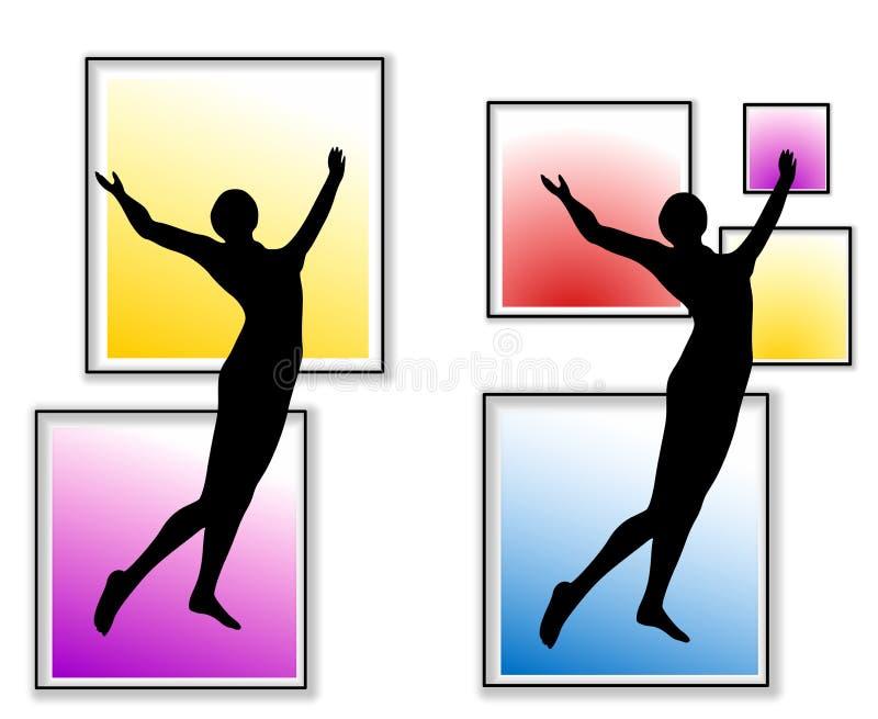 Download Female Fitness Celebrating Silhouettes Stock Illustration - Illustration of dark, arms: 5333452