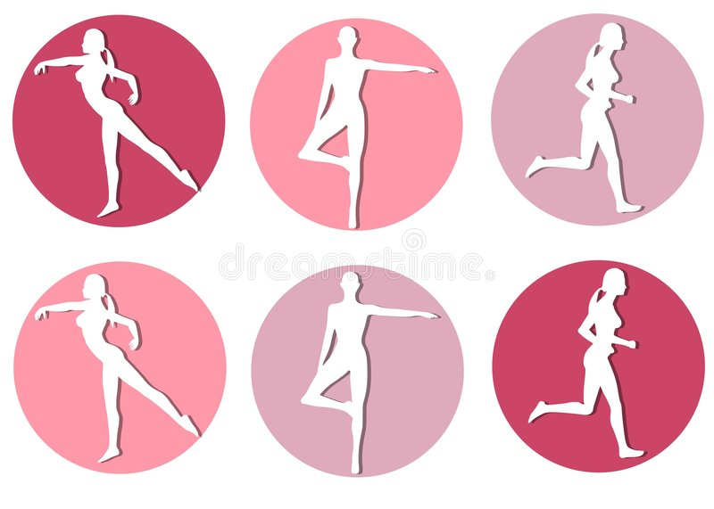 Female Fitness Silhouette Icons royalty free illustration