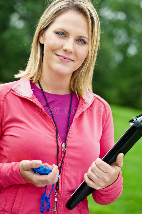 Female fitness trainer portrait stock photography