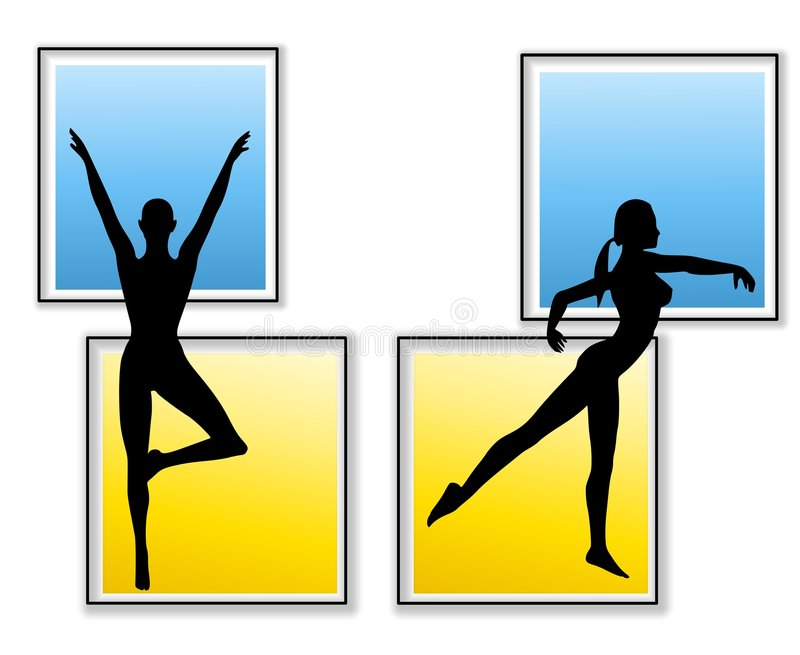 Download Female Fitness Yoga Silhouettes Stock Illustration - Image: 5333445