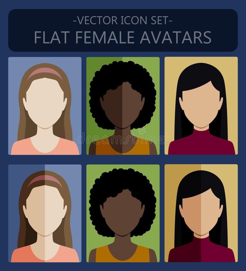 Female flat avatars royalty free illustration