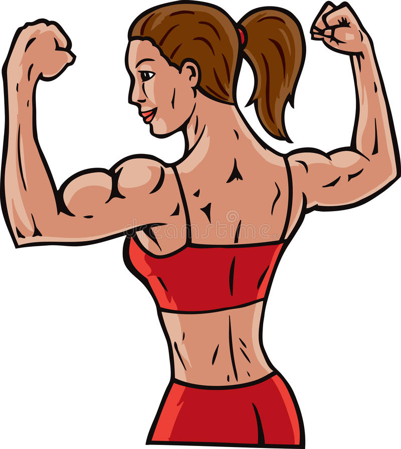 Female flexer stock vector illustration of cartoon - Cartoon body builder ...