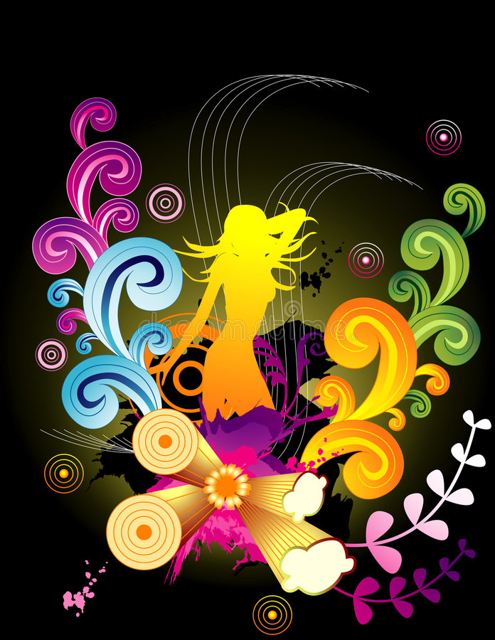 Female floral vector royalty free illustration