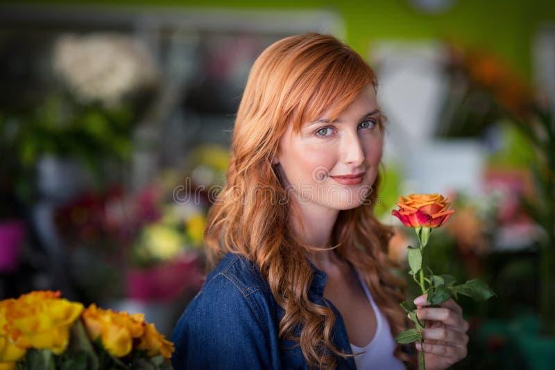 Female florist holding a rose flower stock photos