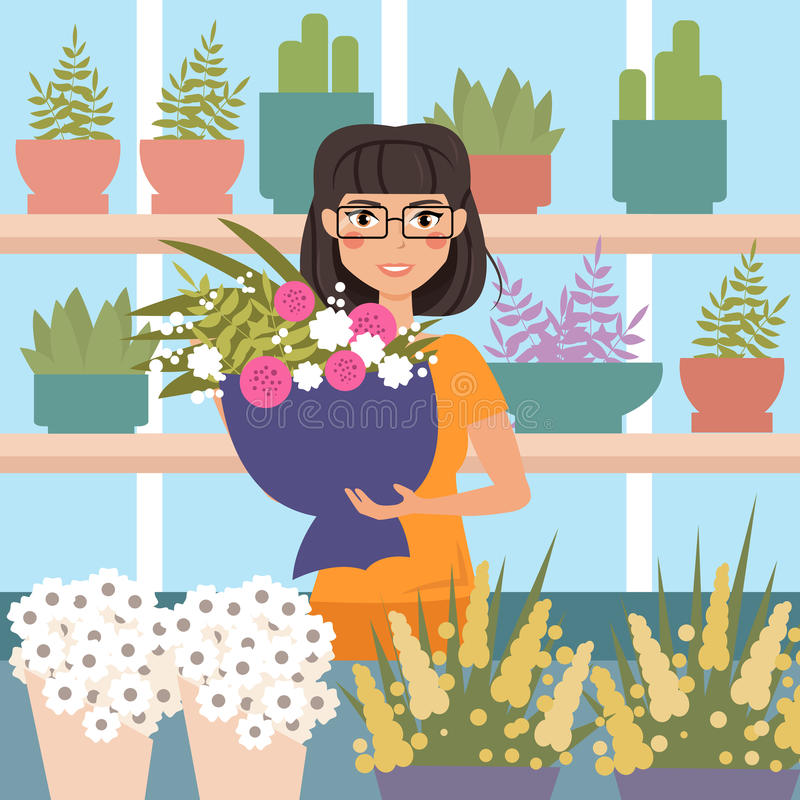 Female florist in shop. Holding bouquet of flowers. Cartoon character. Vector illustration. Flower shop stock illustration