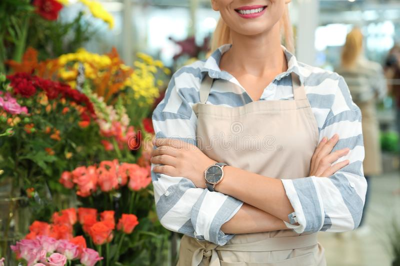 Female florist standing in flower shop. Closeup royalty free stock photography
