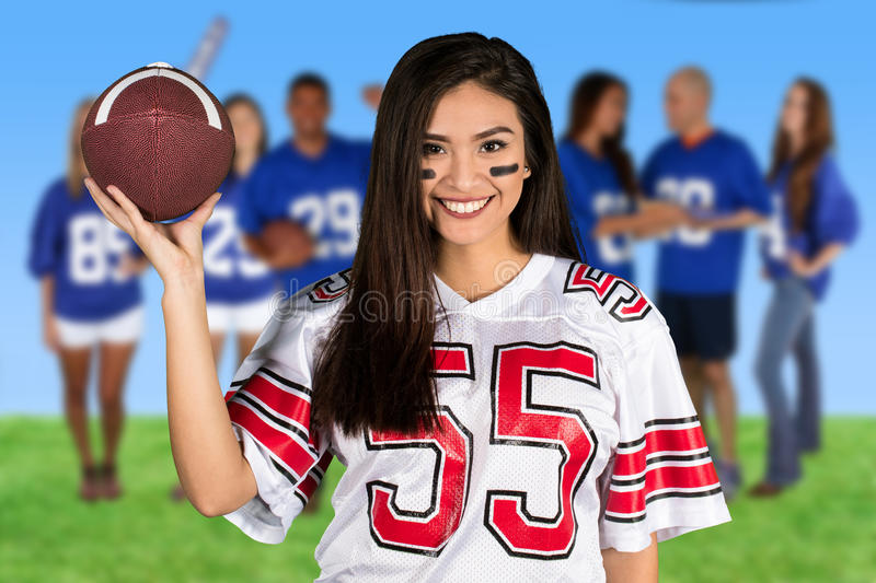 Female Football Fan royalty free stock images