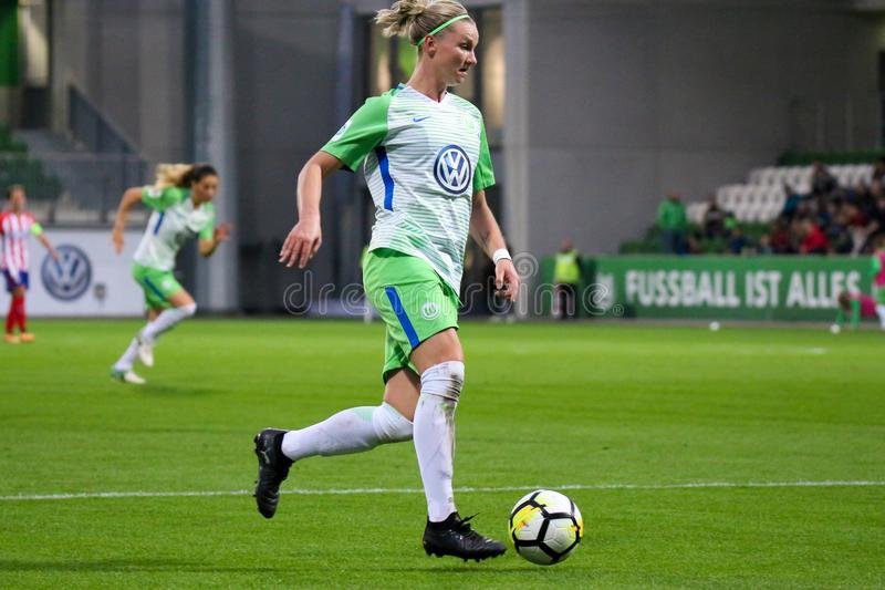 Female footballer Alexandra Popp in action during UEFA Women`s Champions League. WOLFSBURG, GERMANY October 11, 2017. Female footballer Alexandra Popp in action royalty free stock image