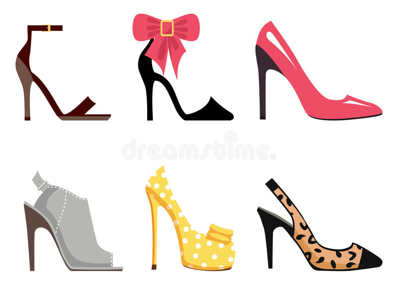 Female Footwear Set of Isolated illustrations. Female footwear set of six different shoes Ankle Strap, Scarpin, Stiletto, Mules, Pump and Slingback shoes on vector illustration