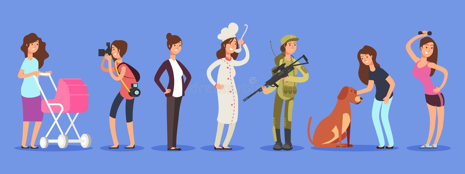 Female free choice vector concept. Woman in different life roles and professions illustration vector illustration