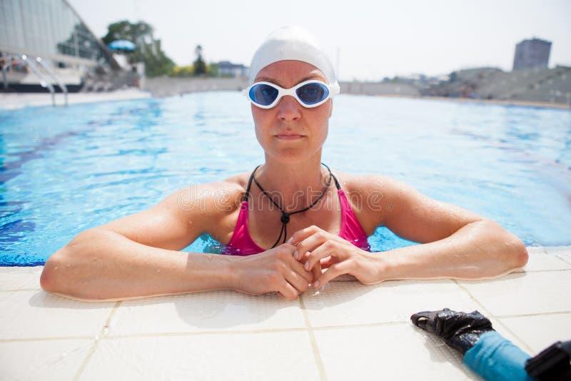 Female freediver at pool stock image