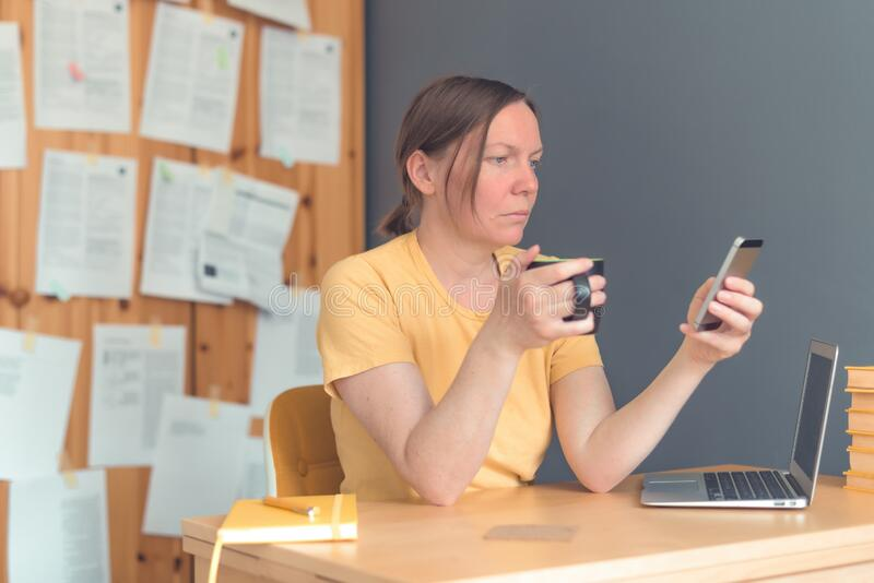 Female freelancer working on smartphone and drinking coffee stock photography