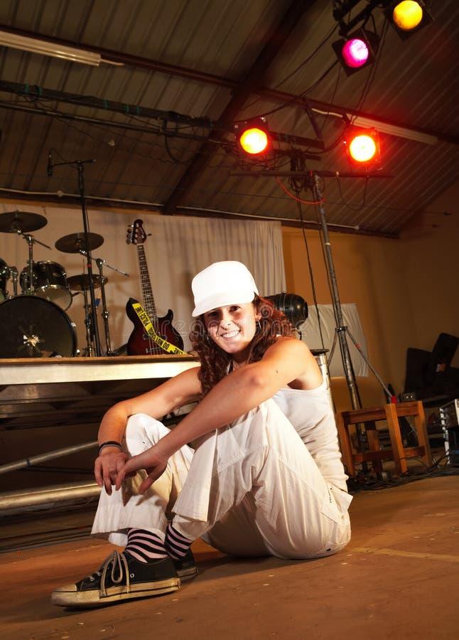 Female freestyle hip-hop dancer royalty free stock photos