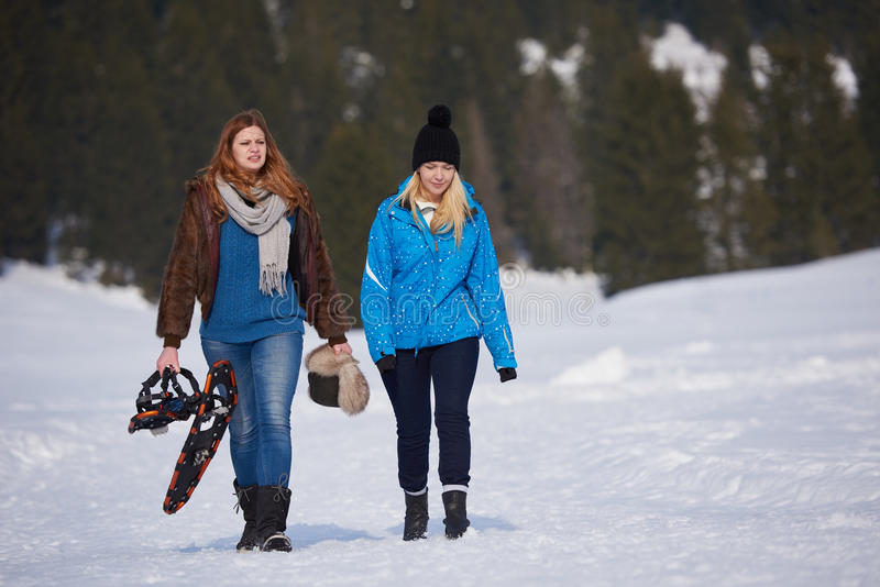 Female friends in beautiful winter day have relaxed walk on snow royalty free stock photo