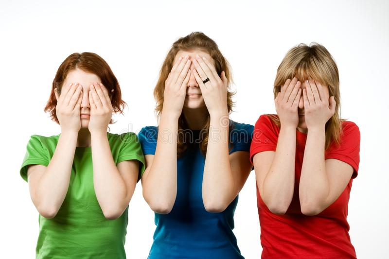 Download Female Friends Covering Eyes Stock Image - Image: 9916419