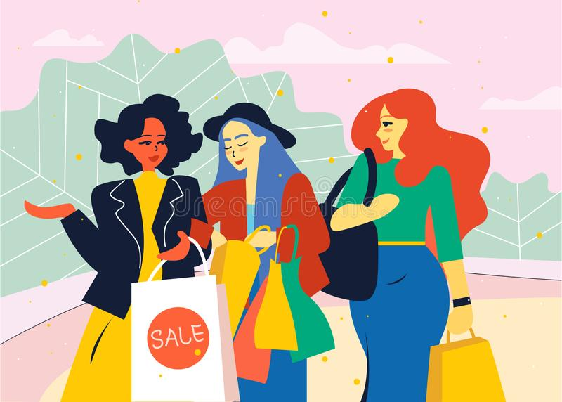 Female friends go from the store with shopping bags. stock illustration