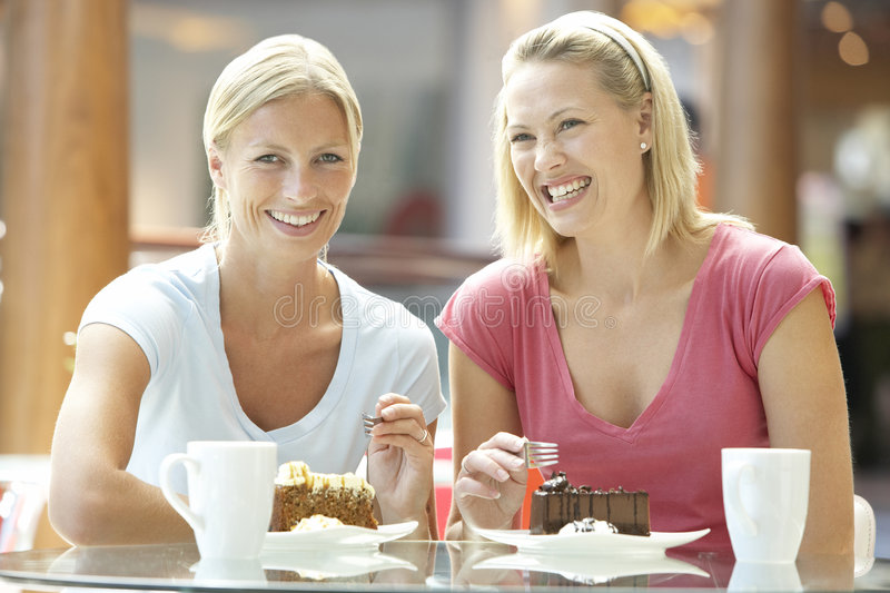 Download Female Friends Having Lunch Together At The Mall Stock Image - Image: 8688177
