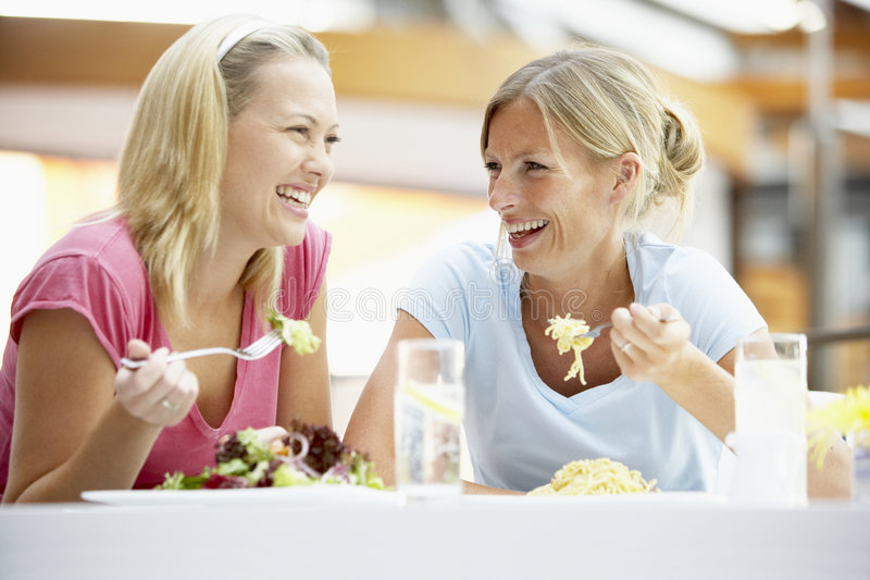 Download Female Friends Having Lunch Together At The Mall Stock Image - Image: 8688247