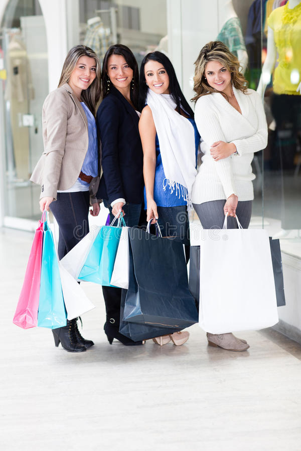 Download Female friends shopping stock image. Image of latinamerican - 25260247