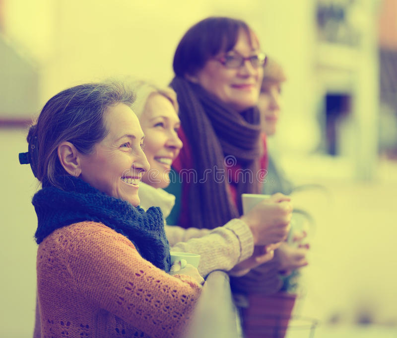 Female friends on summer terrace. Portrait of smiling mature female friends on summer terrace. Focus on brunette female royalty free stock photography
