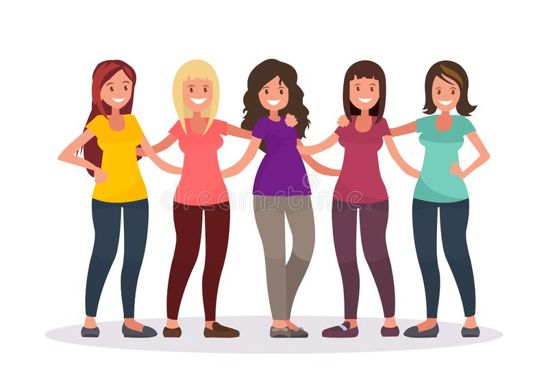Female friendship. Group of women are hugging. vector illustration