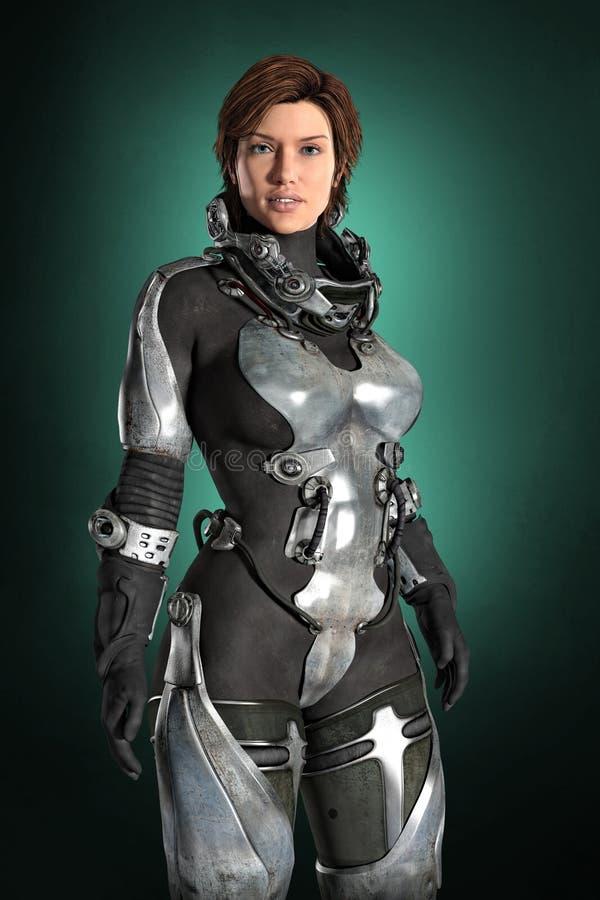 Female Futuristic Astronaut vector illustration